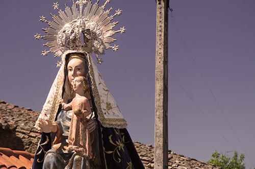 Detalle Virgen del Castillo en procesión