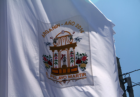 Detalle tela del pendón de Argañín