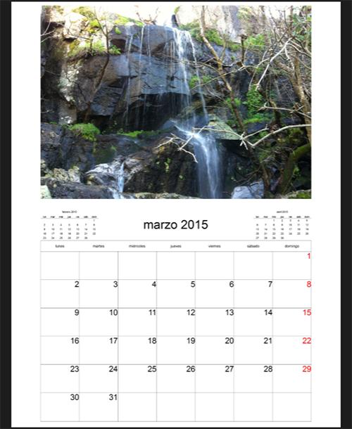 Hoja de Marzo del Calendario de Pueblos de Sayago