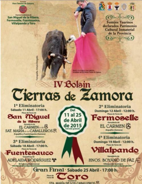 Cartel del IV Bolsín Taurino Tierras de Zamora en Fermoselle