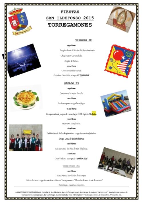 Cartel fiestas de San Ildefonso en Torregamones 2015