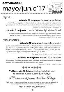 Actividades Argañín Mayo y Junio de 2017