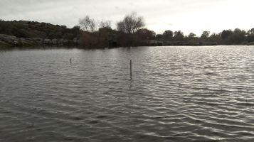Presa del Molino a tope de agua durante las lluvias de 2015