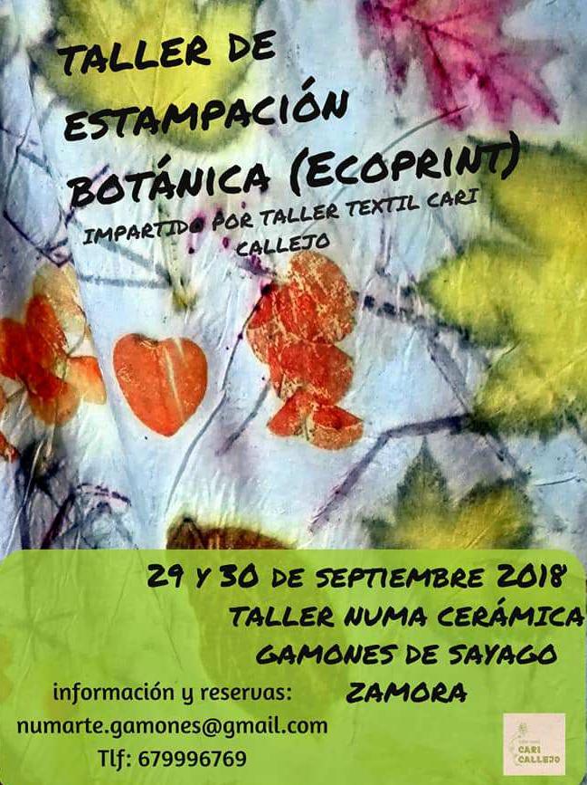 Taller de estampación botánica ecoprint impartida por el taller textil de cari callejo