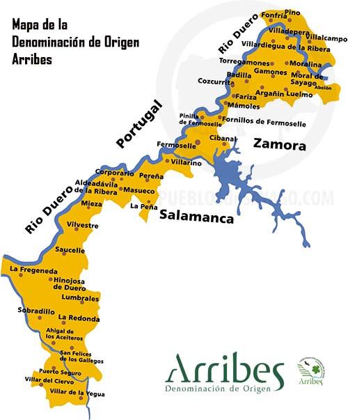 mapa de la denominación de origen arribes
