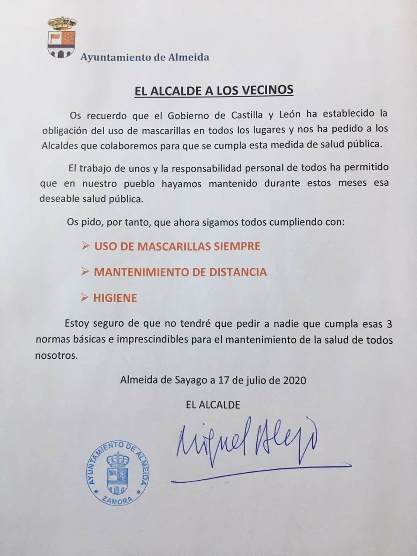 Bando de la alcaldía de Almeida, comarca de sayago, Zamora