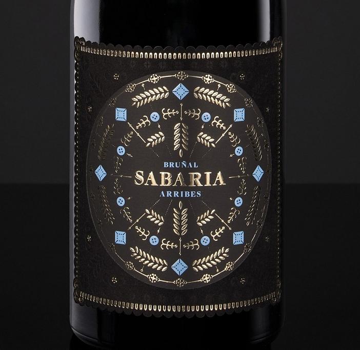 Etiqueta de Vino Sabaria, bruñal de Arribes de bodegas Pardal y Punto