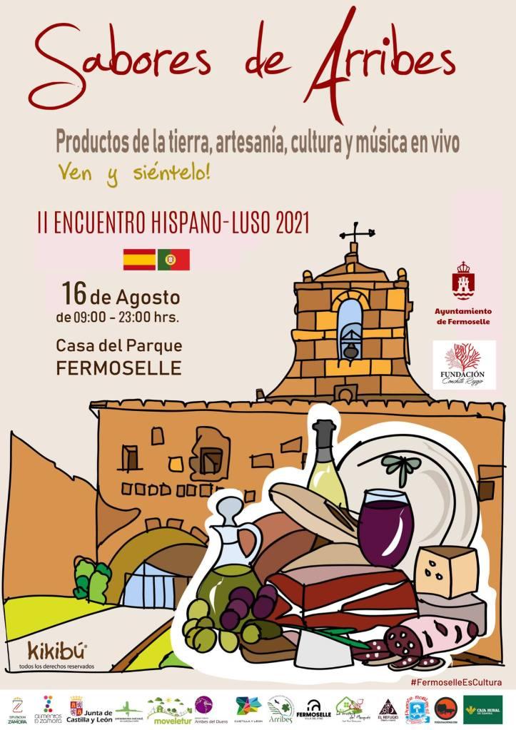 cartel feria sabores de arrines, II encuentro hispano luso organizado por el ayuntamiento de fermoselle en la casa del parque de la localidad