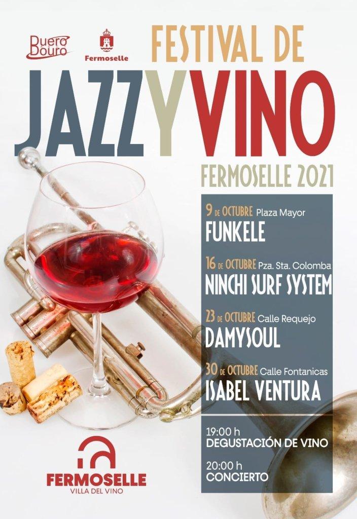 Cartel Festival Jazz y Vino en Fermoselle (Zamora) con los grupos Funkele, Project Claudia, Damysoul e Isabel Ventura